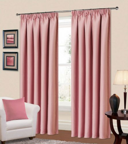 PLAIN BABY PINK COLOUR THERMAL BLACKOUT BEDROOM LIVINGROOM READYMADE CURTAINS PENCIL PLEAT